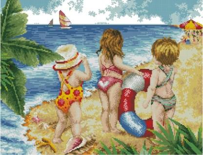 INFBEACH-2: Gráfico de punto de cruz para descargar en PDF, imprimir y bordar dibujo infantil con niños en la playa