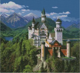 PALACE-1: Gráfico de punto de cruz para descargar en PDF, imprimir y bordar paisaje con Castillo de Neuschwanstein (Alemania)