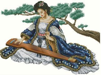 PERJAPON-2: Gráfico de punto de cruz para descargar en PDF, imprimir y bordar mujer japonesa tocando instrumento musical