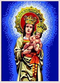 VIRGEN-ALMUDENA: Tela panamá con dibujo impreso de la Virgen de la Almudena, para bordar a punto de cruz