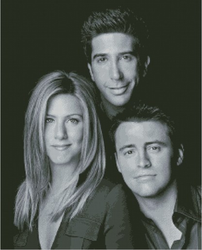 FRIENDS: Gráfico de punto de cruz para descargar en PDF, imprimir y bordar retrato de actores de serie Friends