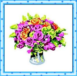 RFLORES: Kit compuesto por tela panamá con dibujo impreso de jarrón de flores e hilos para bordarlo en PUNTO DE CRUZ