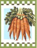 ZANAHORIAS: Tela panamá con dibujo impreso de zanahorias, para bordar a punto de cruz