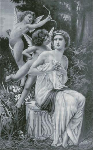 CUPIDO-1: bordado a punto de cruz de dibujo con Venus y cupido