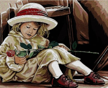 INFROS: bordado a punto de cruz de niña con sombrero y rosa