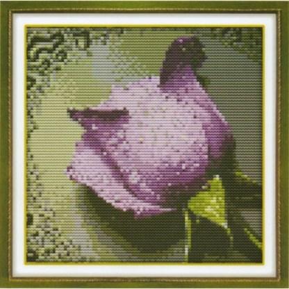 H-140: kit de punto de cruz para bordar una rosa de color violeta