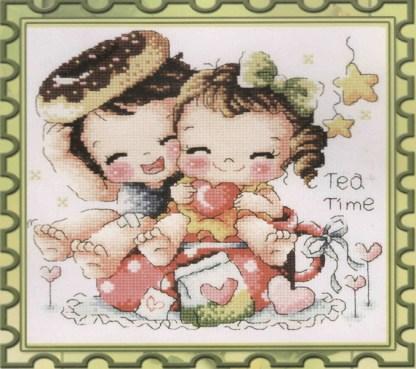 K-088: Kit de punto de cruz para bordar dibujo de niños enamorados con rosquillas