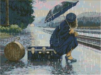 PERLLUVIA: bordado a punto de cruz de mujer bajo la lluvia
