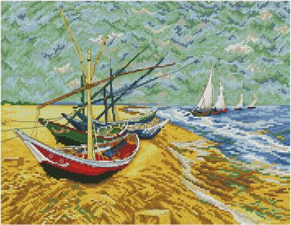 VANGOGH-1: bordado a punto de cruz de cuadro de Van Gogh Barcos pesqueros