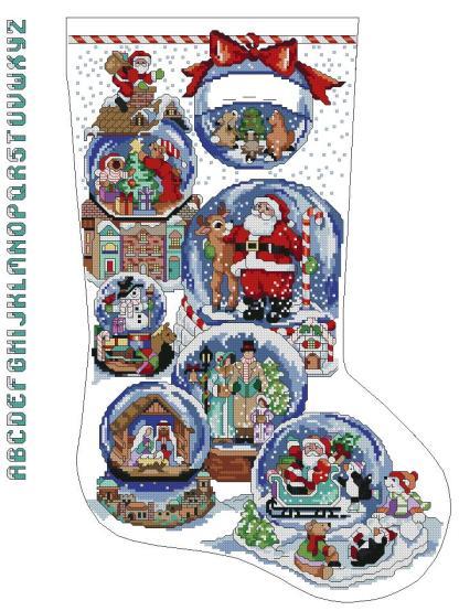 FESOCK-: calcetín de Navidad bordado a punto de cruz