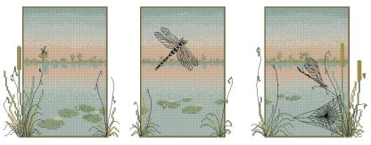 Bordado a punto de cruz de trítico con libélulas sobre agua