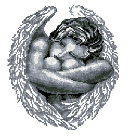 ANGIRL-1: bordado a punto de cruz de mujer ángel