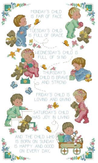 BBWEEK: bordado a punto de cruz de bebés y días semana