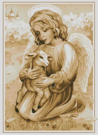 RELIANG-1: Bordado a punto de cruz de ángel y cordero