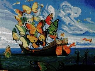 DALIBAR: bordado a punto de cruz del cuadro barco de las mariposas