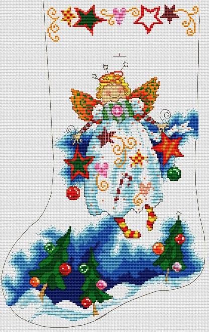 FESOCK-2: bordado a punto de cruz de calcetín navideño con ángel