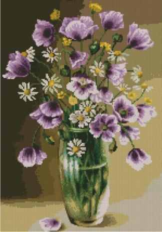 FLVASE-6: bordado a punto de cruz de jarrón con flores