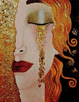 KLIMT-TEARS: bordado a punto de cruz de cuadro de Klimt