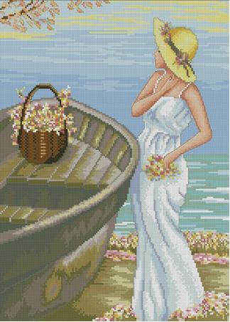 PERSEA-1: bordado a punto de cruz de mujer con barca en la playa
