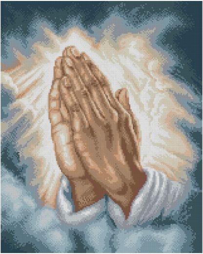 RELIHANDS-2: bordado a punto de cruz de las manos de Jesús Cristo