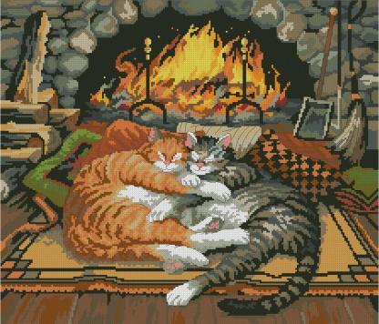 CATS-5: bordado a punto de cruz de gatos frente a chimenea