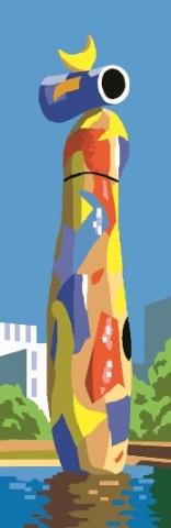 """DONA_I_OCELL: Cañamazo / Panamá con dibujo impreso de la obra de Miró """"Mujer y pájaro"""", para bordar en petit point ó punto de cruz"""