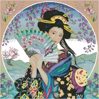 GEISHA-1: bordado a punto de cruz de geisha japonesa