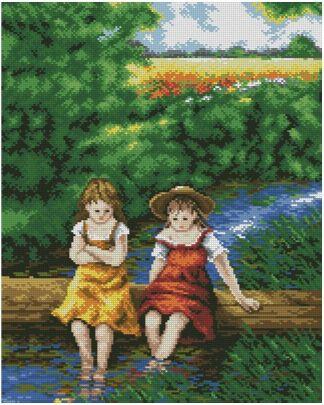 PERGIRLS-1: bordado a punto de cruz de niñas sentadas sobre río