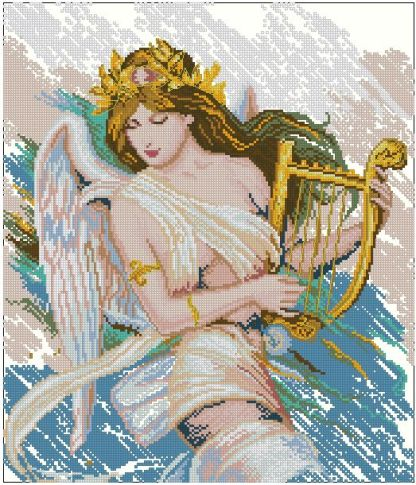 ANGHARP: bordado a punto de cruz de mujer ángel con harpa