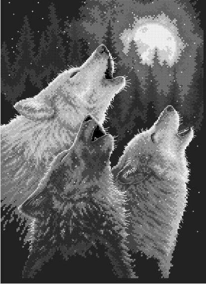 ANIWOLF-1: bordado a punto de cruz de lobos ahuyando