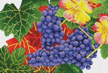 GRAPES-1: bordado a punto de cruz de racimos de uvas