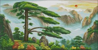 PAJCHINA-3: bordado a punto de cruz de paisaje chino con montañas