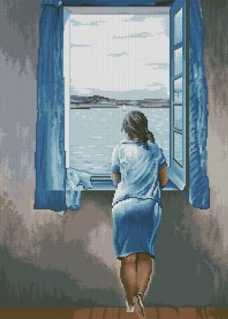 """DALIVEN-2: bordado a punto de cruz de dibujo basado en el cuadro de Dali """"muchacha en la ventana"""""""
