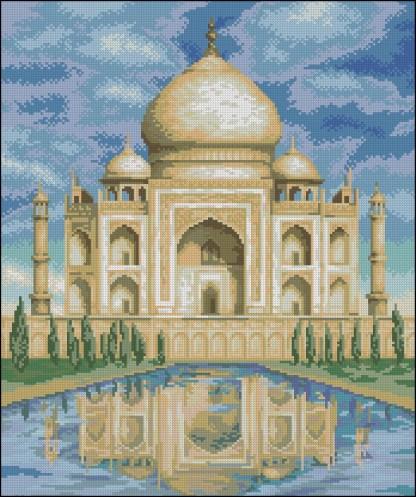 INDIA-2: bordado a punto de cruz del Taj Mahal de la India