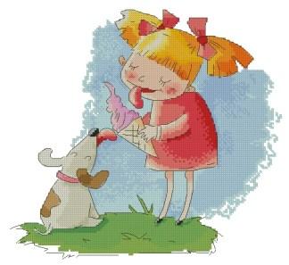 INFICE-1: bordado a punto de cruz de niña con perro y helado