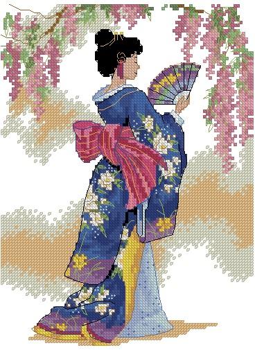 PERJAPON-3: bordado a punto de cruz de mujer japonesa