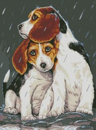 PETS-3: bordado a punto de cruz de dos perritos bajo la lluvia