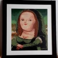 VENTA de cuadro bordado a punto de cruz con dibujo de La Mona Lisa de Botero