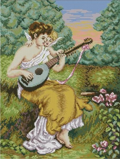 ANGDUET: bordado a punto de cruz de mujer y ángel tocando mandolina