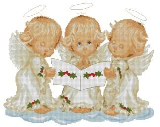 ANGELSING: bordado a punto de cruz de trío de ángeles cantando