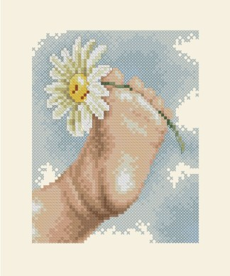 BBFOOT: bordado a punto de cruz de pie de bebé con margarita