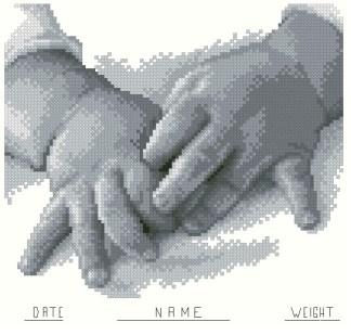 BBMANOS-1: bordado a punto de cruz de recuerdo de nacimiento con manos de bebé