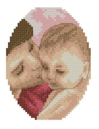 BBMOM-3: bordado a punto de cruz de madre con bebé (niña)