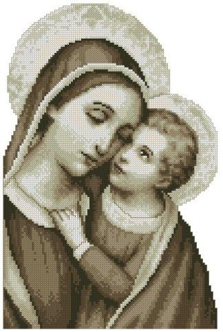 RELIVYN-5: bordado a punto de cruz de Virgen María y Niño Jesús