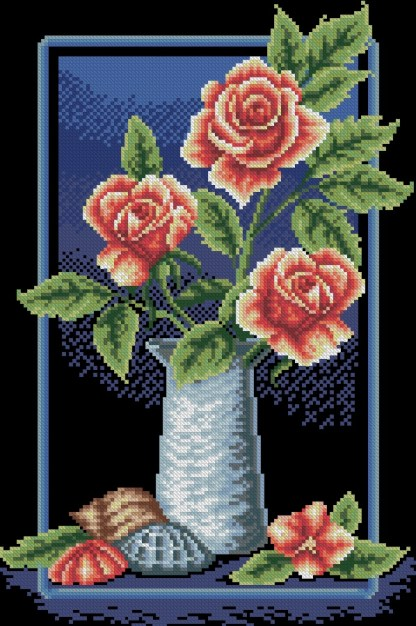 ROSES-6: bordado a punto de cruz de jarrón de rosas y conchas de mar
