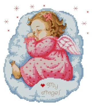 BBANGEL-3: bordado a punto de cruz de bebé ángel niña dormida sobre nube