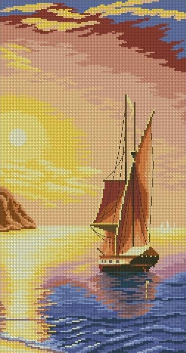 PAJSEA-1: bordado a punto de cruz de paisaje marino con velero