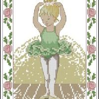Nuevo gráfico de punto de cruz para descargar GRATIS en PDF y bordar dibujo de una niña bailarina con vestido verde
