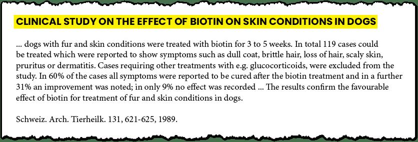 estudio clínico sobre los efectos de la biotina en perros