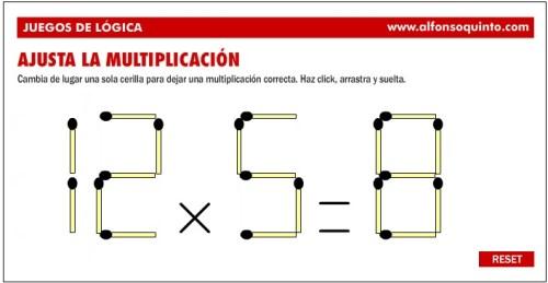 Juegos De LÓgica Las Cerillas Multiplicativas  El
